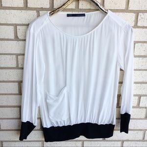 Zara Basic White Black Peasant Top Pocket M